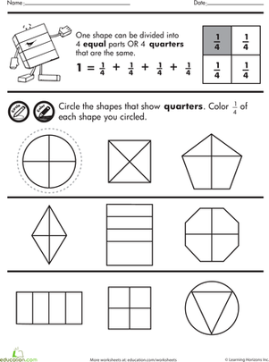 Second Grade Math Worksheets: Shape Fractions: Quarters
