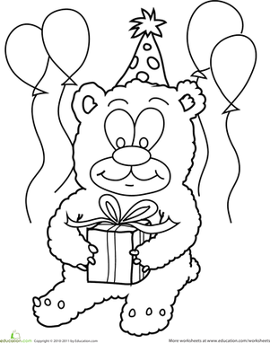 Preschool Holidays & Seasons Worksheets: Birthday Teddy Bear