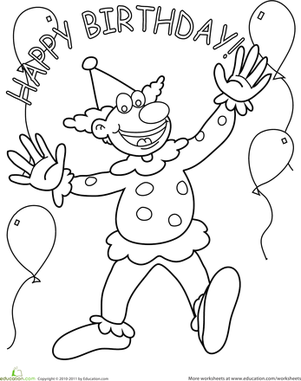 Preschool Holidays Worksheets: Birthday Clown Coloring Page