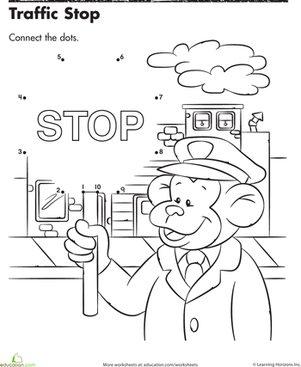 Preschool Math Worksheets: Traffic Stop Connect the Dots