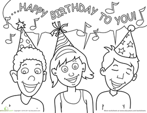 Kindergarten Coloring Worksheets: Birthday Coloring: Singing Friends