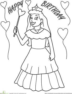 Preschool Holidays & Seasons Worksheets: Birthday Coloring: Princess