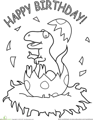 Preschool Holidays & Seasons Worksheets: Happy Birthday Dinosaur!