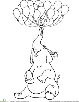 Preschool Holidays & Seasons Worksheets: Elephant with Balloons