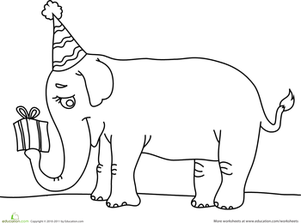 Preschool Holidays Worksheets: Birthday Elephant
