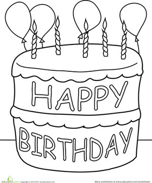 Preschool Holidays & Seasons Worksheets: Birthday Cake Coloring Page