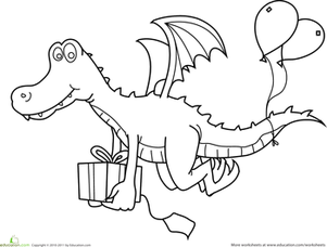Preschool Holidays & Seasons Worksheets: Birthday Dragon