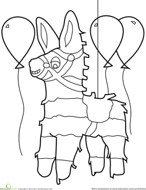 Preschool Holidays Worksheets: Birthday Coloring: Pinata