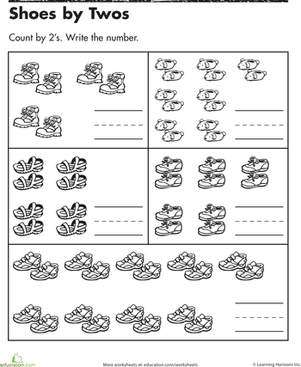 Kindergarten Math Worksheets: Shoes by Twos