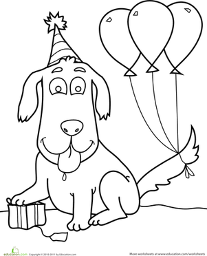 Preschool Holidays & Seasons Worksheets: Birthday Dog