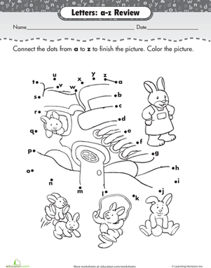 Kindergarten Reading & Writing Worksheets: Alphabet Dot to Dot: Bunnies