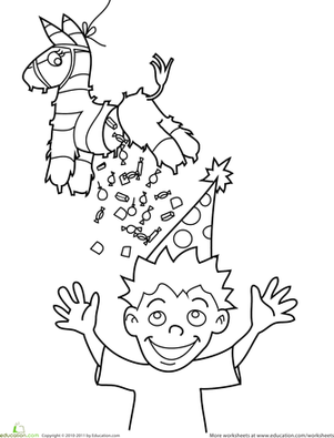 Preschool Holidays & Seasons Worksheets: Birthday Coloring: Pinata Candy