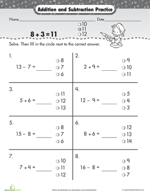 First Grade Math Worksheets: What's the Answer? Addition and Subtraction