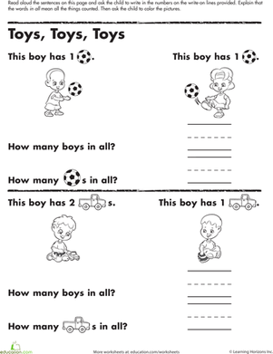 Kindergarten Math Worksheets: Counting Practice: Toys, Toys, Toys