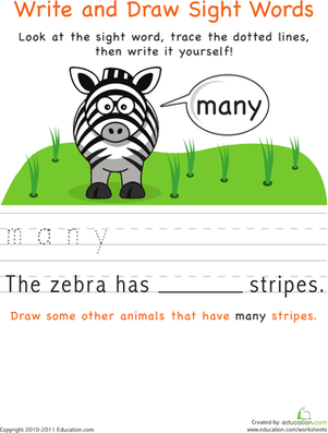 Kindergarten Reading & Writing Worksheets: Write and Draw Sight Words: Many