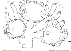 Preschool Coloring Worksheets: Coral Reef Coloring Page