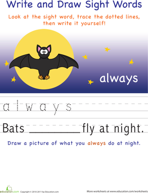 Kindergarten Reading & Writing Worksheets: Write and Draw Sight Words: Always