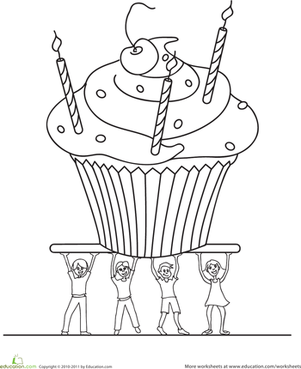 Preschool Holidays & Seasons Worksheets: Birthday Cupcake Coloring Page