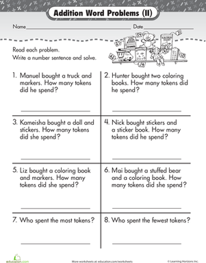 First Grade Math Worksheets: Wordy Word Problems: Addition #2