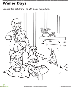 Kindergarten Holidays & Seasons Worksheets: Winter Dot-to-Dot