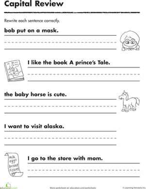 math worksheet : practicing capitals  worksheet  education  : Kindergarten Sentence Worksheets