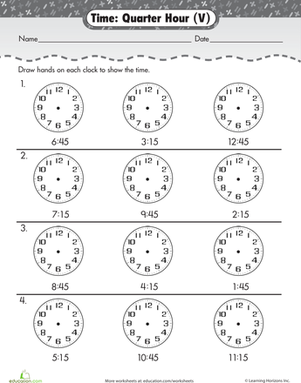 learning to tell time quarter hour worksheet. Black Bedroom Furniture Sets. Home Design Ideas