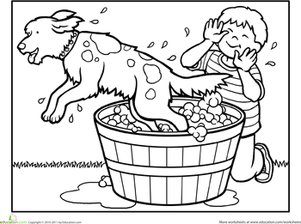 Color the Dog at Bath Time | Worksheet | Education.com