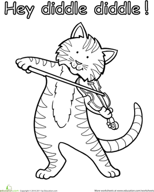 Kindergarten Coloring Worksheets: The Cat and the Fiddle Coloring Page