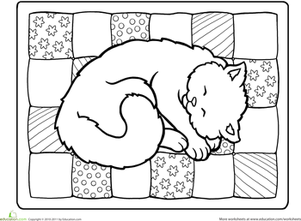 Kindergarten Coloring Worksheets: Color the Napping Kitty
