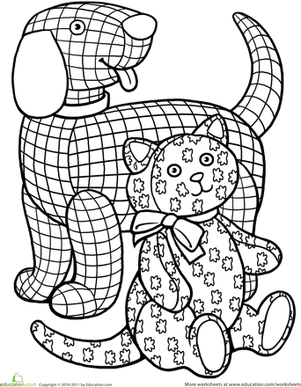 Color the Gingham Dog and the Calico Cat