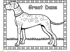 Kindergarten Coloring Worksheets: Great Dane Coloring Page