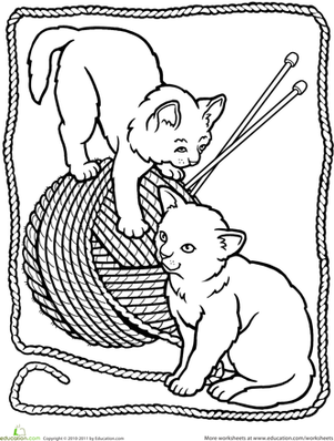 Kindergarten Coloring Worksheets: Kitten Coloring Page