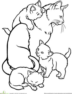 color the mommy cat and kittens | worksheet | education.com - Coloring Pages Cats Kittens