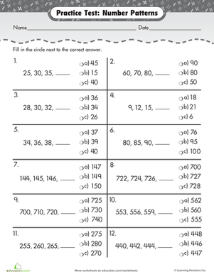 practice test number patterns  worksheet  educationcom second grade math worksheets practice test number patterns