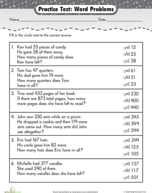 Practice Test: Addition & Subtraction Word Problems | Worksheet ...