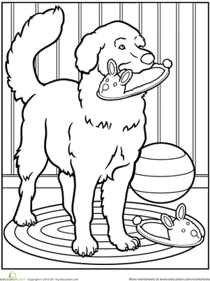 Kindergarten Coloring Worksheets: Pet Dog Coloring Page