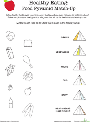 Worksheet Healthy Eating Worksheets healthy eating food pyramid match up worksheet education com
