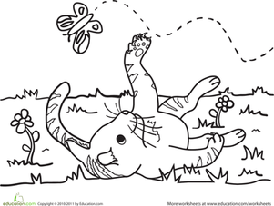 Kindergarten Coloring Worksheets: Color the Kitty and the Butterfly