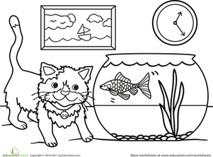 Kindergarten Coloring Worksheets: Color the Kitty and the Fish