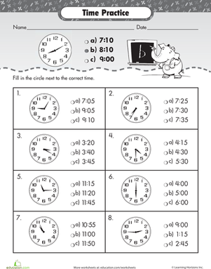 Second Grade Math Worksheets: Telling Time with Punctual Pete