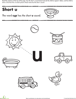 Short Vowel Sounds U  Worksheet  Educationcom Kindergarten Reading  Writing Worksheets Short Vowel Sounds Worksheet U