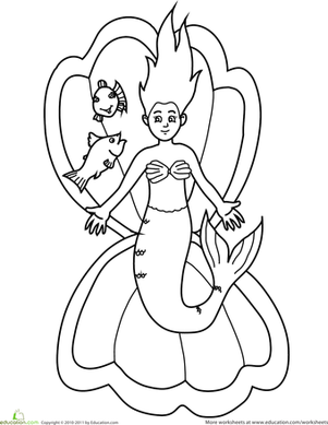 Preschool Coloring Worksheets: Color the Resting Mermaid