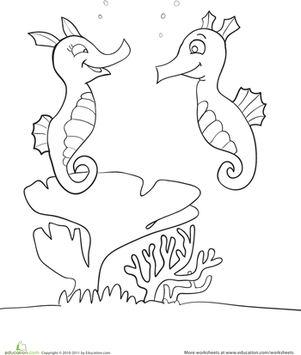 seahorses coloring coloring page. Black Bedroom Furniture Sets. Home Design Ideas