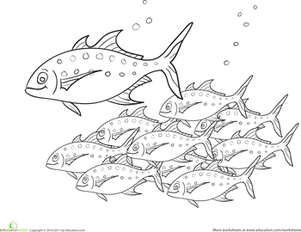 Preschool Coloring Worksheets: Color the School of Fish