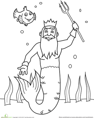Preschool Coloring Worksheets: Color the King of the Sea