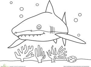 Preschool Coloring Worksheets: Sneaky Shark Coloring Page