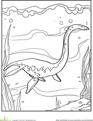 Kindergarten Coloring Worksheets: Color the Dinosaur: Elasmosaurus