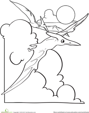 Kindergarten Coloring Worksheets: Pterodactyl Coloring Page