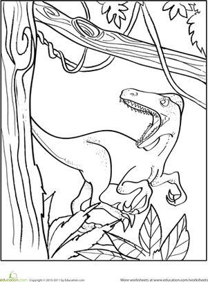 Kindergarten Coloring Worksheets: Velociraptor Coloring Page