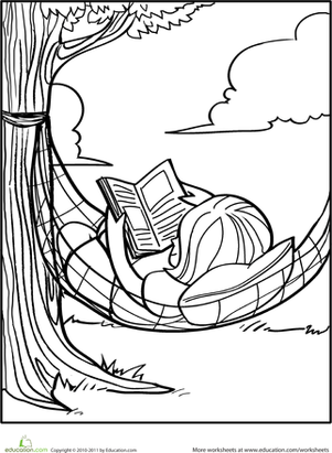 Kindergarten Seasons Worksheets: Reading Coloring Page